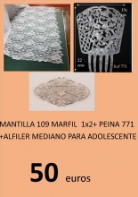 PACK DE ADOLESCENTE PEINA + MANTILLA 1 X 2  + ALFILER