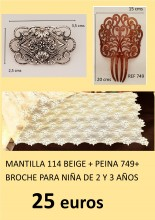 PACKS PEINA  SIMIL CAREY, MANTILLA  BEIGE  116 Y ALFILER PARA NIÑAS DE 2 Y 3 AÑOS